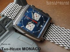 "TagHeuer MONACO on 22mm Ploprof 316 Reform Stainless Steel ""SHARK"" Mesh Watch Band Diver Strap P [DA222203B005P]"