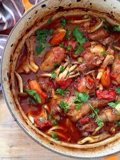 Italian Chicken Cacciatore Recipe, an easy Hunter Style classic Italian peasant dish of braised chicken in wine & San Marzano tomatoes.