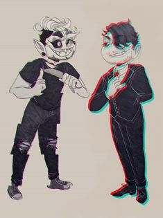 i wanted to try something out and draw something not in my usual art style, so ? have some edgy boys (i couldn't decide between the 2 so u get 2 edit yay!) looks awesome!