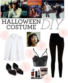 Roonil Wazlib D.Y Halloween Costume: Mia Wallace by i-dont-do-mornings featuring movie wall art Yves Saint Laurent shirts top / Givenchy black knit pants / Topshop balcony bra, / Nly Shoes ballet flat shoes /. Cute Couple Halloween Costumes, Halloween Inspo, Movie Costumes, Diy Halloween Costumes, Halloween Party, Costume Ideas, Mia Wallace Costume, Pulp Fiction Costume, Halloween Disfraces