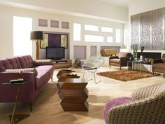 Chic living room, living room design, purple living room, Genevieve with Zig Zag Living Room