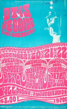 Presented in Dance-Concert by Bill Graham Otis Redding & His Orchestra Grateful Dead / Johnny Talcot and de Thangs / Country Joe and the Fish December 1966 @ Fillmore Auditorium - San Francisco © 1966 Wes Wilson Psychedelic Rock, Psychedelic Posters, Hippie Posters, Tour Posters, Band Posters, Vintage Concert Posters, Vintage Posters, Vintage Quotes, Woodstock