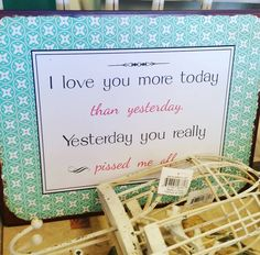 😂😂 #whippletreecountrystore  #giftshop Love You More, My Love, Place Card Holders, Signs, Instagram Posts, Shop Signs, Sign, Dishes