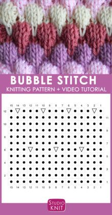 Bubble Knit Stitch Pattern Chart with Video Tutorial by Studio Knit. How to Knit the Bubble Stitch Pattern with free knitting pattern and video tutorial by Studio Knit Knitting Stiches, Knitting Charts, Knitting Patterns Free, Knit Patterns, Free Knitting, Baby Knitting, Stitch Patterns, Free Pattern, Knit Stitches