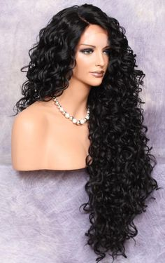 Human Hair Blend Full Lace Front Wig Extra volume and Curly Untamed and wild Heat Safe Wig Off Black Side parting Brand New with Tag Wig Styles, Curly Hair Styles, Natural Hair Styles, Short Wavy Hair, Black Curly Hair, Medium Curly, Brown Hair, Full Lace Front Wigs, Curly Full Lace Wig