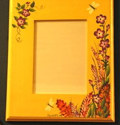 Wildflowers painted on a wood frame.  One Stroke Painting by Susan Earl.