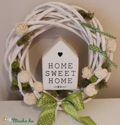 Home sweet home- Tavaszi ajtódísz, koszorú, kopogtató, Dekoráció, Húsvéti apróságok, Otthon, lakberendezés, Dísz, Meska