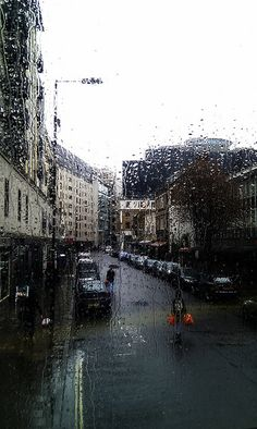 Rain in London, England, United Kingdom.