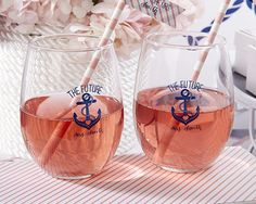 36 9 oz. Stemless Wine Glasses by Kate Aspen for Nautical Bridal Showe – Brookshire Boutique