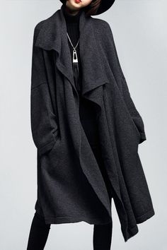 Lushijiao Deep Gray Draped Front Knitted Cardigan   Cardigans at DEZZAL