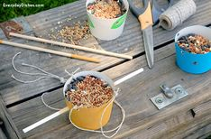 This easy homemade bird feeder craft is a great weekend craft for the kids and the mess stays outdoors! Bird Feeder Craft, Bird House Feeder, Crafts To Make, Crafts For Kids, Craft Activities For Kids, Nature Activities, Activity Ideas, Craft Ideas, Recycled Crafts Kids