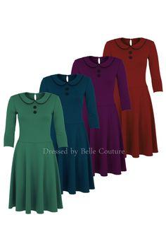 """Knielange Kleider - Jerseykleid """"Lola"""" viele Farben - ein Designerstück von…"""