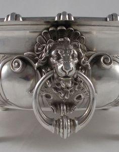 *RAR* Imposante Empire Jardiniere Löwenkopfe Glaseinsatz 925er Silber Bruckmann