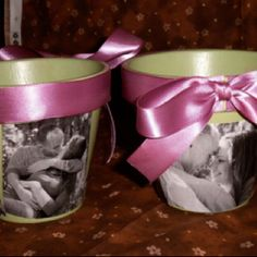 Easy photo flower pots! Paint, ModPog, pics on paper and some ribbon! Just add some flowers. Great idea for mothers day with pic of grandchild