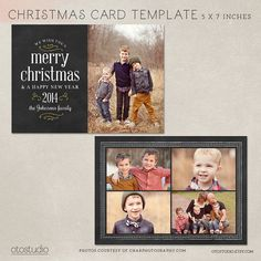 Digital Photoshop Christmas Card Template for by OtoStudio on Etsy, $8.00 2014