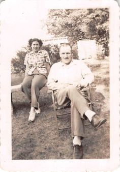 Black and White Vintage Snapshot Photograph Couple Yard Smile Chairs 1950's