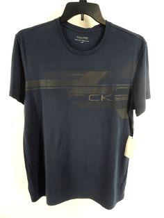 CALVIN KLEIN NEW $39.50 BLUE GRAPHIC SHORT SLEEVE T-SHIRT size L #CalvinKlein #GraphicTee