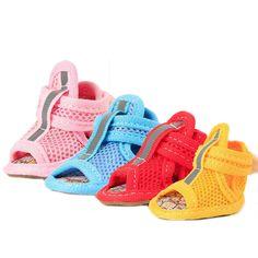 4pcs/set Dog Summer Shoes Breathable Mesh Puppy Shoes Dog Sandals Shoes     eBay