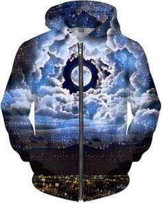 Heavenly Moon Fantasy Art Custom Street Style Zip Hoodie by Willy Badu. Nature's Arc Reactor of life.