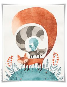 Friends of the Forest - 8x10 Animal watercolor collection. $28.00, via Etsy.