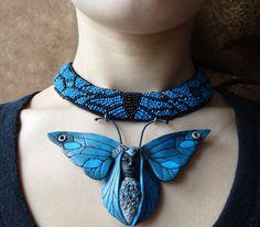 "Galina-Scarab - Necklace, handmade beads. Fair Masters - handmade Necklace-transformer ""Butterfly."" Handmade."