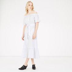 Warehouse, COTTON OFF SHOULDER MIDI DRESS White 2