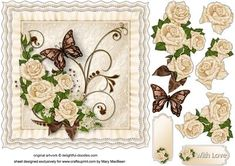 Cream Roses Frilly Cushion Card Front on Craftsuprint designed by Mary MacBean - Cream frilly cushion with roses and a butterfly. There is a With Love sentiment or a blank tag for your own message making this card suitable for many different occasions.  - Now available for download!