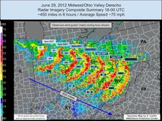 "NOAA defines derecho as ""a widespread, long-lived wind storm that is associated with a band of rapidly moving showers or thunderstorms. Although a derecho can produce destruction similar to that of tornadoes, the damage typically is directed in one direction along a relatively straight swath."""