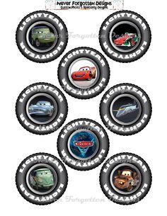 "3"" Cars Lightening Mcqueen Birthday Party Circles Cup Cakes Toppers Goodie Bags. $5.75, via Etsy."