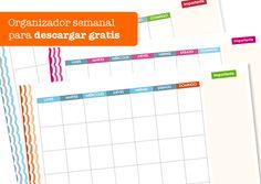 Planificador semanal para imprimir gratis: http://dibujos-para-colorear.euroresidentes.com/2013/05/organizador-semanal-para-imprimir.html