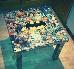 Batman Coffee Table  Decoupaged comic book by ThePixieHutOnline