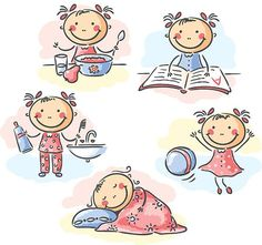 Buy Girl's Daily Activities by katya_dav on GraphicRiver. Cartoon little girl's daily activities Drawing For Kids, Art For Kids, Drawing Ideas, Daily Drawing, Cartoon Sketches, Daily Activities, Cartoon Kids, Happy Kids, Cute Kids