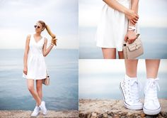 Dress with sneakers