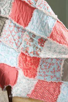 Crib Rag Quilt Baby Girl Crib Bedding   Coral Tiffany Blue Gray Nursery Emily Taylor Kensington