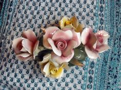 Capodimonte Porcelain Rose Centerpiece Vintage by BoredomByProxy, $30.00
