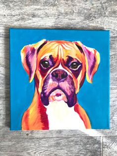 Original Blue Boxer Painting Boxer Dog Boxer Dog Art - Energetic and funny, that describes Hattie to a tee!! :) #BoxerDog
