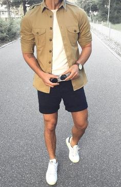 10 Best Casual Shirts For Men That Look Great! - 10 Best Casual Shirts For Men That Look Great! Summer Shorts Outfits, Trendy Summer Outfits, Stylish Mens Outfits, Mens Summer Shorts, Outfit Summer, Shorts For Men, Casual Clothes For Men, Men Clothes, Men's Outfits
