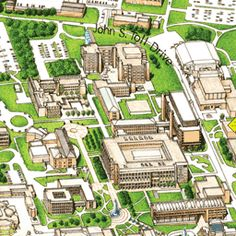 I could see a simpler version of this working for us— cross street map with 3d buildings. (Stony Brook University Campus Map)
