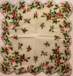 Holly hankie My Grandma Zella Sullivan had one of these and now I have it. Christmas Trimmings, Christmas Fabric, Christmas Crafts, Vintage Christmas Images, Vintage Images, Vintage Quilts, Vintage Fabrics, Love Vintage, Vintage Handkerchiefs