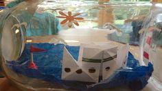 Buddelschiff mit Kindern einfach gebastelt