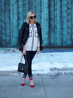 3.14 pick pocket (Danier leather jacket + Joe Fresh blouse + JBrand jeans + Zara heels + Chanel bag + Karen Walker sunnies + Michael Kors watch + Stella & Dot bracelet)