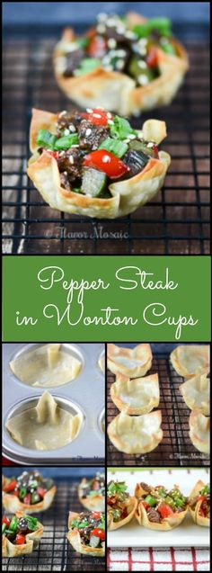 Pepper Steak in Wonton Cups are cute, crunchy, bite-size appetizers made with Asian inspired pepper steak with onions, red and green bell peppers in served in wonton cups. They are certain to be a hit at any party. #SundaySupper @beefpros.