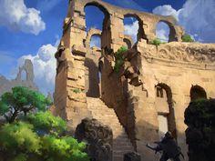 ruins, Byung-ju Bong on ArtStation at https://www.artstation.com/artwork/RmJzO