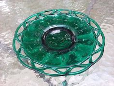 Antique Imperial Green Glass Laced Edged Emerald Pedestal Plate 7 Inch #Imperial