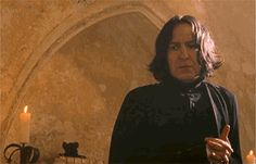 """The first time Snape speaks to Harry, he asks, """"Potter! What would I get if I added powdered root of asphodel to an infusion of wormwood?"""""""