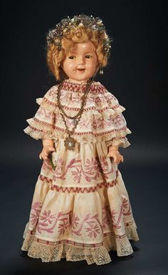 American Composition Doll of Shirley Temple by Ideal in Custom Costume of Panama $700+