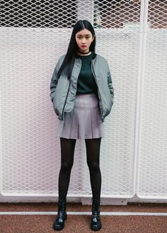 MIXXMIX | GIRL  Basic Zip-Up Jacket    Faux Suede Tennis Skirt    Heart Pattern Choker    Black Mid-Calf Combat Boots  ☞ Click here to see more MIXXMIX | GIRL Outerwear
