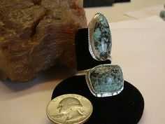 Large Utah Turquoise Fine Sterling Silver Jewelry Adjustable Ring to Sizes 8 1/2 to 11 091G