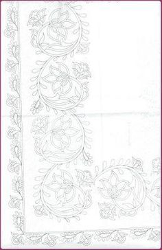 Fashion and Lifestyle Border Embroidery Designs, Hand Embroidery Patterns, Beaded Embroidery, Quilting Designs, Embroidery Stitches, Stencil Patterns, Pattern Art, Bordado Popular, Whole Cloth Quilts