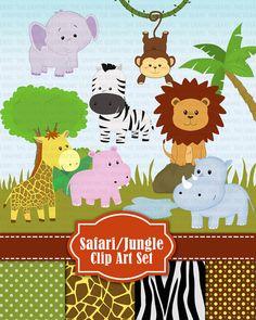 Jungle Safari Wild Zoo Animals Clip Art Jungle от GraphicGears, $5.50